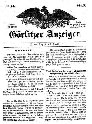 Görlitzer Anzeiger vom 03.04.1845