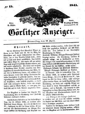 Görlitzer Anzeiger vom 10.04.1845