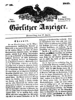 Görlitzer Anzeiger on Apr 17, 1845