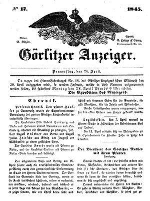 Görlitzer Anzeiger vom 24.04.1845
