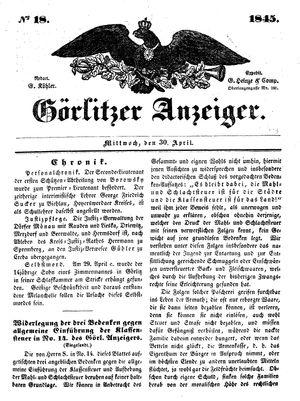 Görlitzer Anzeiger vom 30.04.1845