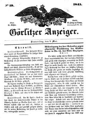 Görlitzer Anzeiger vom 08.05.1845