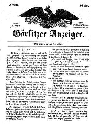 Görlitzer Anzeiger vom 15.05.1845