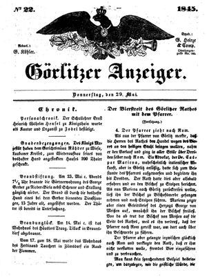 Görlitzer Anzeiger vom 29.05.1845