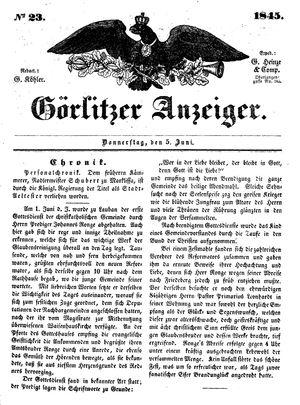 Görlitzer Anzeiger vom 05.06.1845