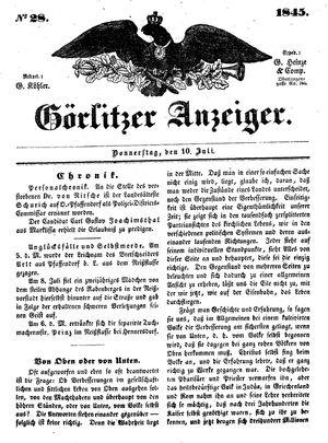 Görlitzer Anzeiger vom 10.07.1845