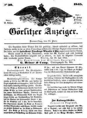 Görlitzer Anzeiger vom 24.07.1845