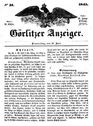 Görlitzer Anzeiger vom 31.07.1845