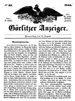 Görlitzer Anzeiger vom 14.08.1845