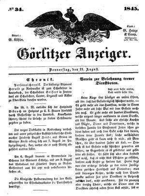 Görlitzer Anzeiger vom 21.08.1845