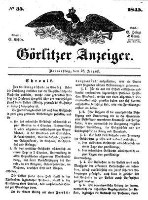 Görlitzer Anzeiger on Aug 28, 1845