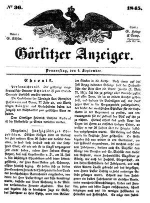 Görlitzer Anzeiger vom 04.09.1845