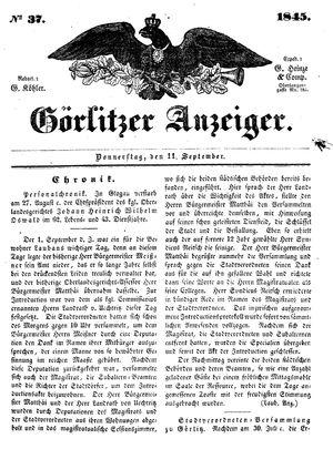 Görlitzer Anzeiger vom 11.09.1845