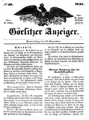 Görlitzer Anzeiger vom 18.09.1845