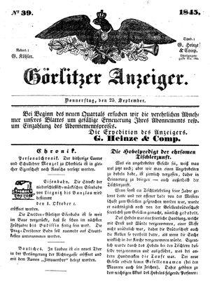 Görlitzer Anzeiger vom 25.09.1845