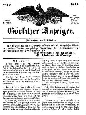 Görlitzer Anzeiger on Oct 2, 1845