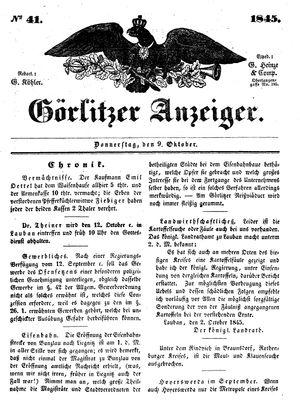 Görlitzer Anzeiger vom 09.10.1845