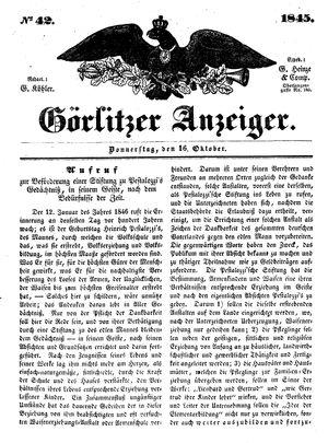 Görlitzer Anzeiger vom 16.10.1845