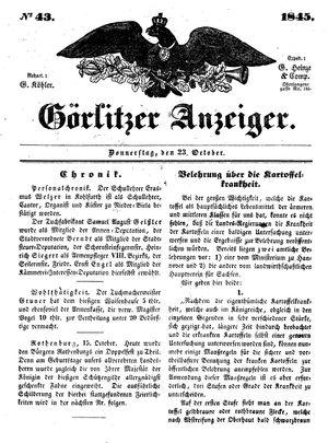 Görlitzer Anzeiger vom 23.10.1845