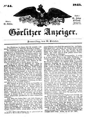 Görlitzer Anzeiger vom 30.10.1845