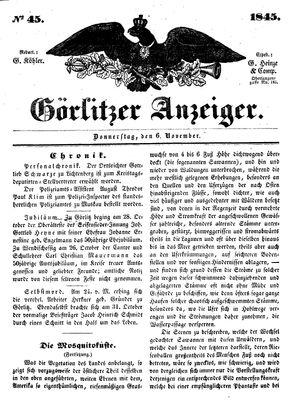 Görlitzer Anzeiger vom 06.11.1845