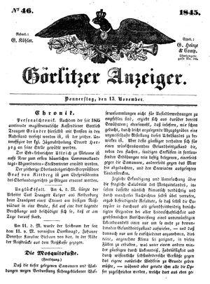 Görlitzer Anzeiger vom 13.11.1845
