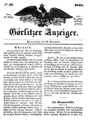 Görlitzer Anzeiger vom 20.11.1845