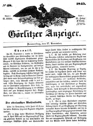 Görlitzer Anzeiger vom 27.11.1845