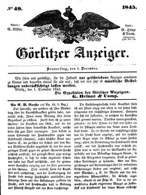 Görlitzer Anzeiger on Dec 4, 1845