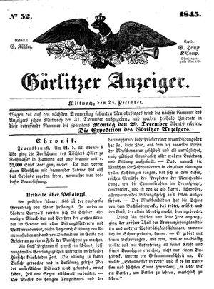 Görlitzer Anzeiger vom 24.12.1845