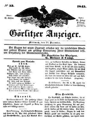 Görlitzer Anzeiger vom 31.12.1845