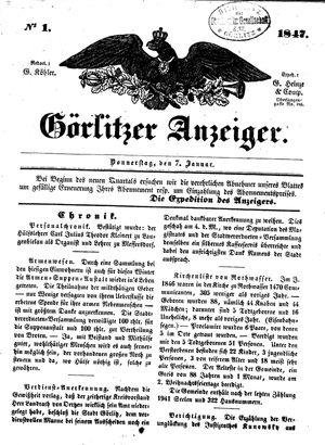 Görlitzer Anzeiger vom 07.01.1847