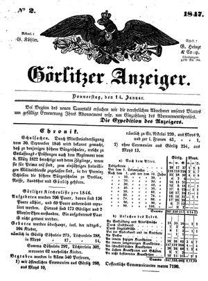 Görlitzer Anzeiger vom 14.01.1847