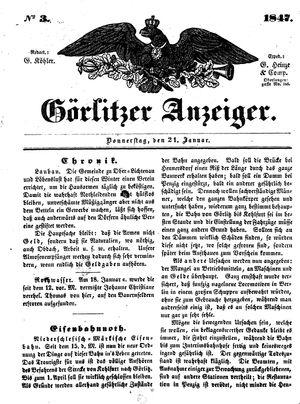 Görlitzer Anzeiger on Jan 21, 1847