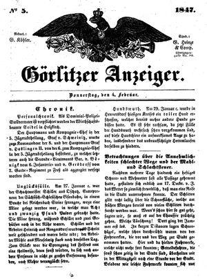 Görlitzer Anzeiger vom 04.02.1847