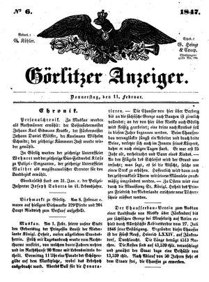 Görlitzer Anzeiger vom 11.02.1847