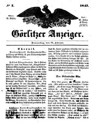 Görlitzer Anzeiger vom 18.02.1847