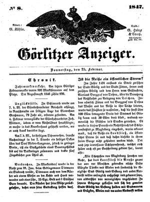 Görlitzer Anzeiger vom 25.02.1847