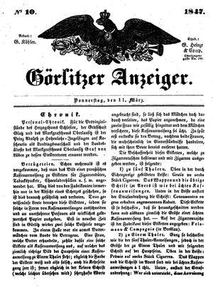 Görlitzer Anzeiger vom 11.03.1847