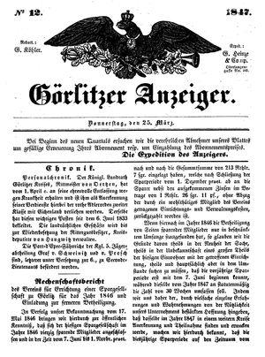 Görlitzer Anzeiger vom 25.03.1847