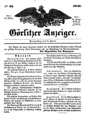 Görlitzer Anzeiger vom 01.04.1847