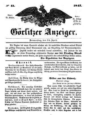 Görlitzer Anzeiger vom 15.04.1847