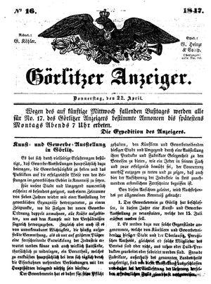 Görlitzer Anzeiger vom 22.04.1847