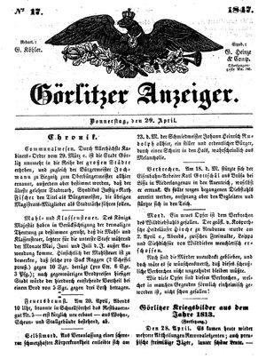 Görlitzer Anzeiger vom 29.04.1847