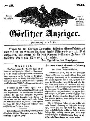 Görlitzer Anzeiger vom 06.05.1847