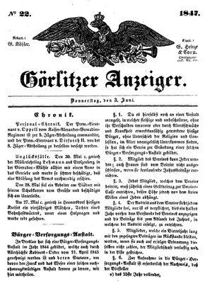 Görlitzer Anzeiger vom 03.06.1847
