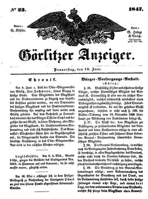 Görlitzer Anzeiger vom 10.06.1847