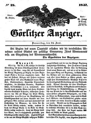 Görlitzer Anzeiger vom 24.06.1847
