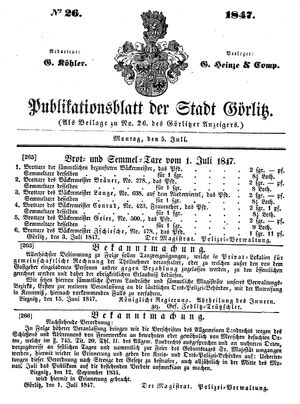 Görlitzer Anzeiger vom 05.07.1847