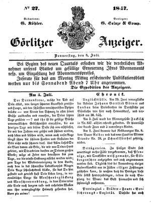 Görlitzer Anzeiger vom 08.07.1847
